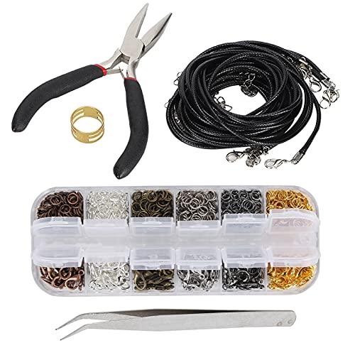 Kit de suministros para fabricación de joyas, alicates, herramientas de reparación, accesorios para cables de joyería, kit de envoltura para manualidades, reparación de joyas, abalorios, pulseras