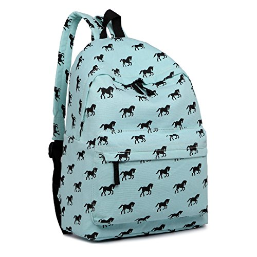 Kono School Bags for Boys and Girls Rucksack Canvas Horse Printing Backpack Students Teenagers Bookbag Casual Daypack (Blue)