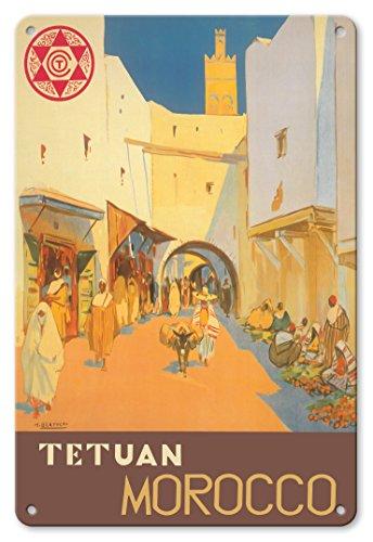Tetuán, Maroc - Ville de la Colombe Blanche - Affiche Voyage de Mariano Bertuchi c.1940 Plaque d'art en métal 20 x 30cm