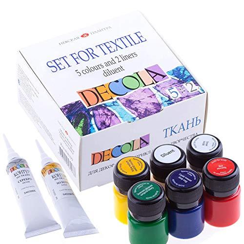 Decola Set Pintura Textil Acrilica | 5x20ml + 2x18 ml +1 Colores Por Ropa Resistentes En Lavadora | Hechos En Rusia da Neva Palette