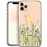 OOH!COLOR Carcasa para Móvil Compatible con Funda iPhone 11 Pro Transparente Silicona Slim Suave Bumper Teléfono Caso para iPhone 11 Pro con Dibujo Prado de Flores
