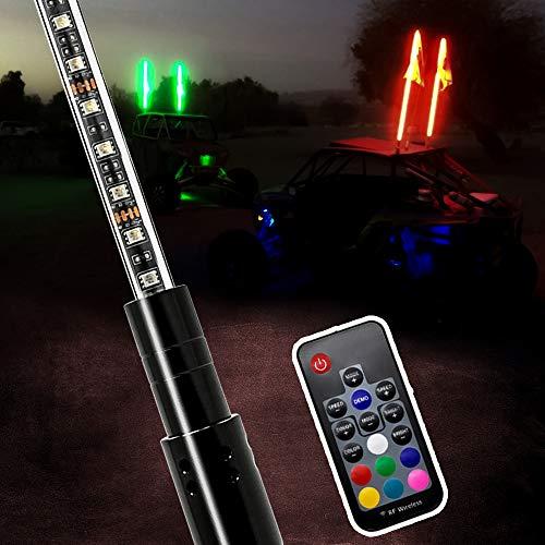 AXECO LED Whip Lights, 4ft RGB LED Lighted Antenna Whips with US Flag RF Remote Control for ATV, UTV, Off Road, Trucks, Sand Beach Desert Dune Buggy, Quad, 4X4, SXS