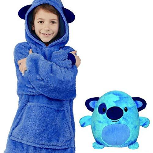 glory.D Schlafanzug Kinder plüsch Hoodie Kinder - 2 in 1 Faltbares Haustierkissen, deformierter Hoodie Kapuzenpullover Kinderspielzeug Kissen Fun-Kapuzenpullover Plüschtier Hoodie