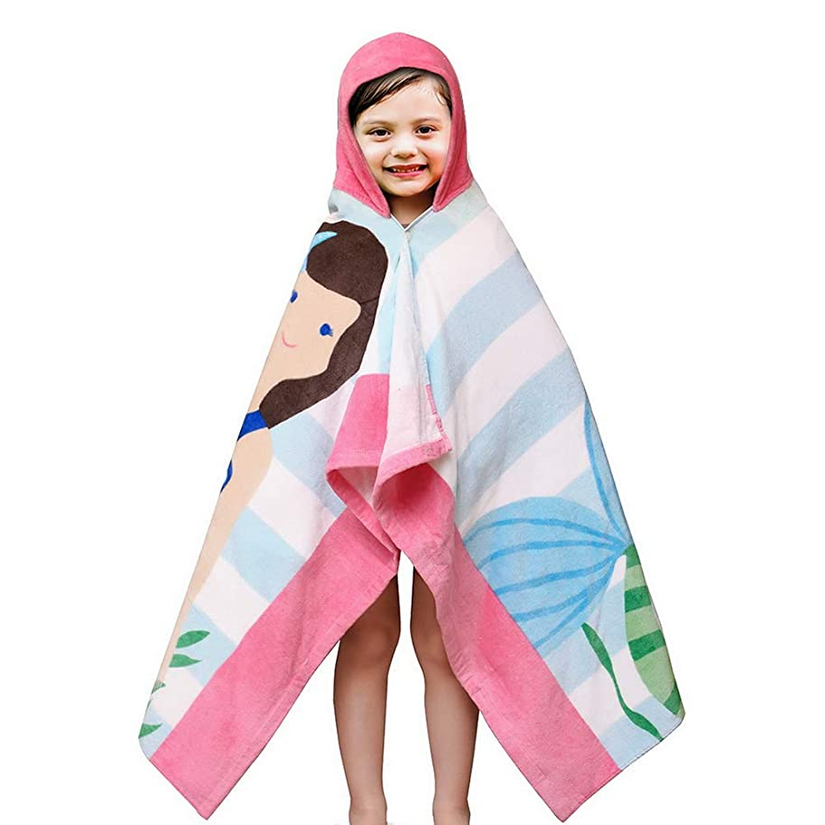 SearchI Hooded Bath Towel for Kids Girls 2 to 7 Years Old, Fast Drying Beach Towel for Swim Pool Ultra Absorbent 100% Cotton Poncho Bath Towel, 50x30 Inches (Mermaid Brown Hair)
