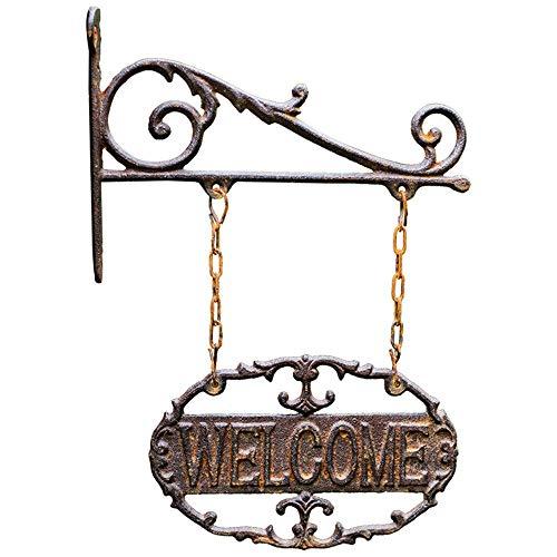 YYhkeby Garten Willkommen Zeichen Eisen Welcome Sign Wandbehang Tür Nummer Antike Dekoration Garten-Hof Villa Außen Eintrag for Garden Bar Cafe Shop Tor Tür Cast Jialele