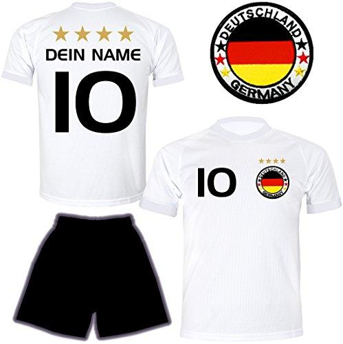 DE FANSHOP Deutschland Trikot mit Hose und GRATIS Wunschname Nummer Wappen Typ #D26 2021/2022 im EM/WM weiß - Geschenke für Kinder, Jungen, Baby, Fußball T-Shirt personalisiert
