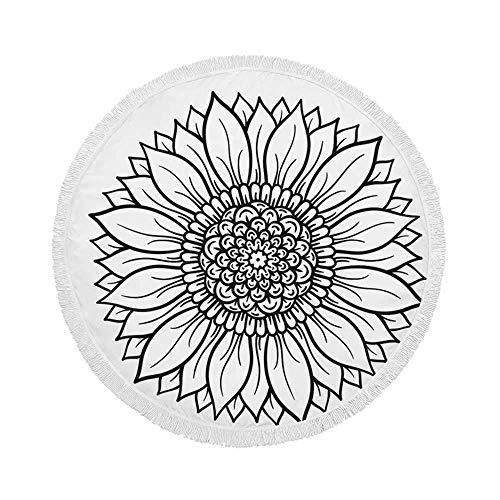 Manta de Toalla de Playa Redonda, Mandala en Blanco y Negro con Estampado de Flores, Esterilla de Yoga Circular Grande de Gran tamaño de 59 Inch con borlas de Flecos