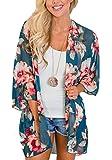 Relipop Women's Chiffon Blouse Loose Tops Beach Kimono Floral Print Cardigan