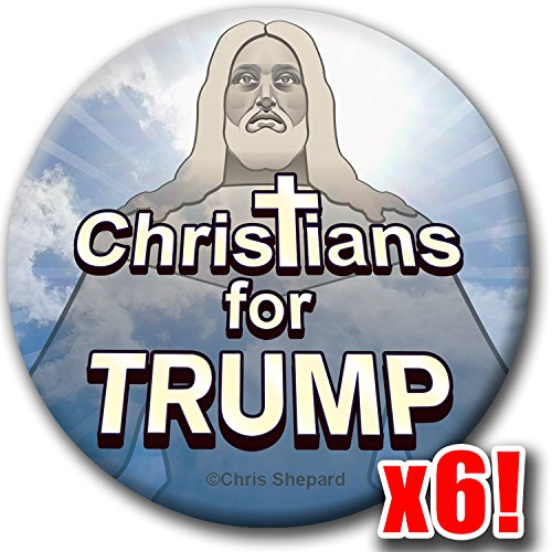 CHRISTIANS for TRUMP 6-Button Pack! Evangelical Support Badge MAGA Pin God Jesus