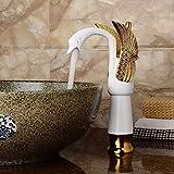 ZJN-JN Grifería de Lavabo Cuenca del fregadero grifo for lavatorio Oro agua caliente y fría de cerámica orificio de la sola palanca de tocador de baño grifo del fregadero Accesorios para el baño