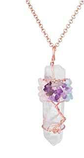 Jovivi Chakra Gemstone Tree of Life Wire Wrapped Natural Clear Quartz Healing Crystal Point Pendant Necklace