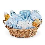 Baby Box Shop - Cesta regalo beb nio con ropa de beb - Artculos esenciales para nios recin nacidos - Manta de beb - Doudou y sonajero de unicornio azul