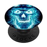 Flaming Blue Skull Face - Fire Skull For Boys Men PopSockets Swappable PopGrip