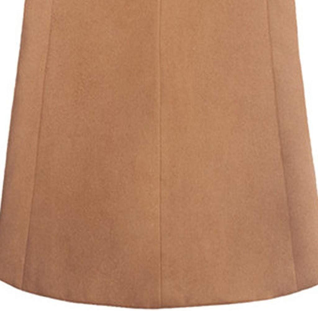 MODOQO Men's Trench Coat Long Wool Blend Slim Fit Peacoat Jacket Overcoat Outwear