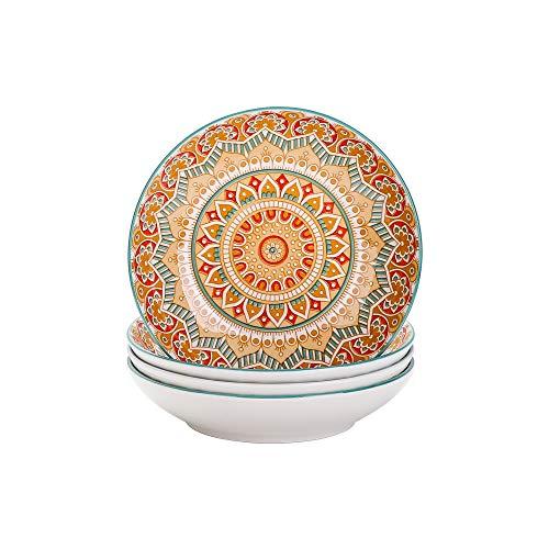 vancasso Serie Mandala Juego de 4 Platos Hondos Platos de Porcelana para Sopa/Ramen Ensalada, 700ML Pintado a Mano Color Amarillo