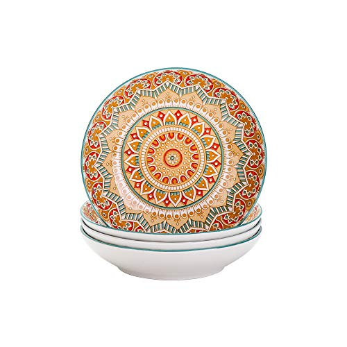 vancasso Serie Mandala Juego de 4 Platos Hondos Platos de Porcelana para...