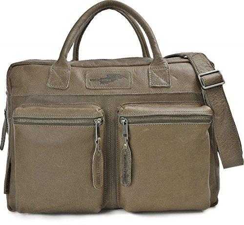 REBELS & LEGENDS, Leder Unisex Aktentaschen, Ledertaschen, Laptoptaschen, Notebooktaschen, Henkeltaschen, 40,5 x 30 x 16 cm (B x H x T), Farbe:Grau