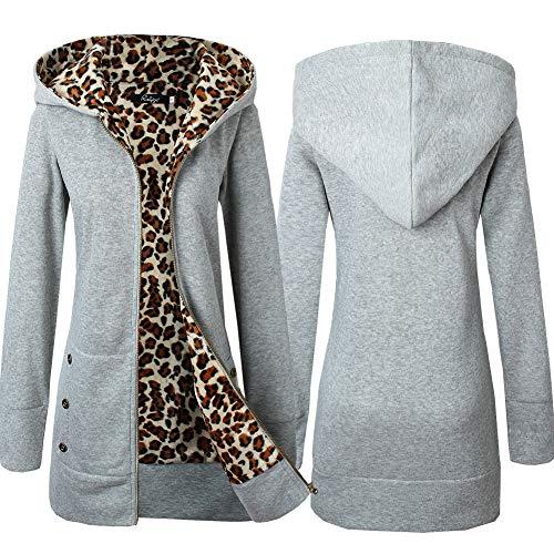 Derrick Aled(k) zhuke Suéter de Leopardo Acolchado con Capucha para otoño e Invierno para Mujer, además de Chaqueta de Terciopelo de Gran tamaño