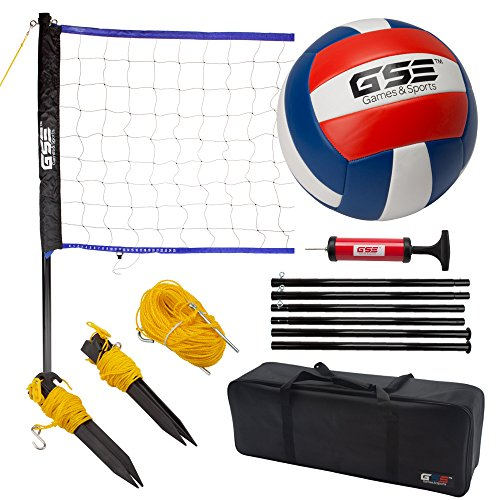 Portable Volleyball Set. Including Volleyball Net System and Volleyball with Pump (Recreational)
