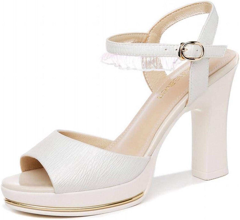 LTN Ltd - sandals EIN Wort mit Dicken Sandalen, Weiblicher Fee, Sommerdamenmodeschuhen, Damenschuhen, Polieren, 36