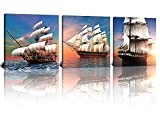 NAN Wind 3 Pcs 12X12inches Ocean Modern Giclee Canvas Prints Pirate Ship Sailing on The Ocean Sunset Wall Art Seascape Pictures on Canvas Stretched and Framed Ready to Hang for Home Decor Ship Decor