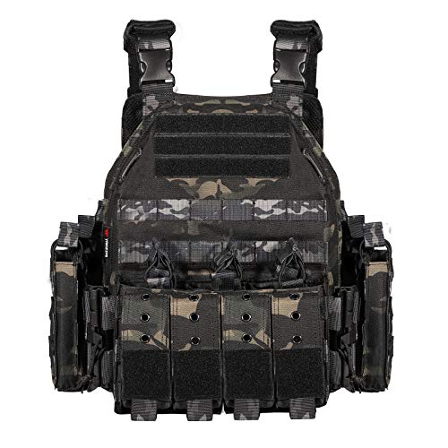YAKEDA Quick Release Military Tactical Outdoor Vest for Men (Black cp)
