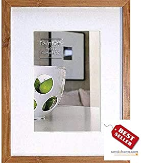 CONTEMPORARY Bamboo Natural-stain matted 11x14/8x10 frame by EcoCare - 8x10
