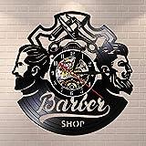 FDGFDG Salon de Coiffure Salon de Coiffure Décor Vintage Disque Vinyle Horloge Murale Accessoires pour Cheveux Salon de Coiffure Signe Mural Décoratif Montre Murale