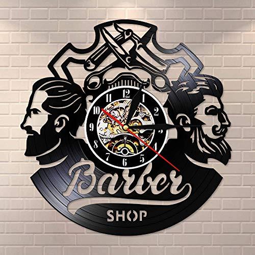 Suhang Barbiere Logo Hair Salon Decor Wandklok Vintage haaraccessoires kappers wandklok decoratieve wandklok Without Led