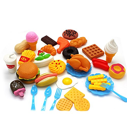 Lanlan Giocattolo Bambini Plastica Fast Food Playset Mini Hamburg Patatine fritte Hot Dog Ice Cream Cola Cibo giocattolo per bambini Finta di giocare Regalo per i bambini