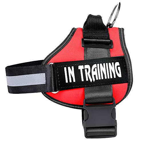 WOCUME Dog Harness No Pull Adjustable Pet Vest Harness Training Vest Working Dog Chest Harness with Handle,No More Pulling, Tugging or Choking(M,Red)