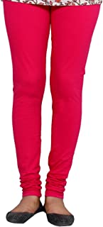 IndiWeaves Womens Prremium Cotton Full Ankle Length Solid Colors Leggings-Magenta-Free Size