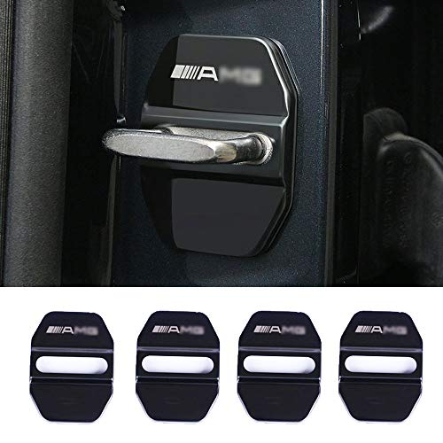 YYD Coperchio Serratura Porta in Acciaio Inossidabile Mercedes-Benz AMG da 4 Pezzi - Applicabile alla Copertura antiruggine in Acciaio Inossidabile AMG Mercedes-Benz,Black