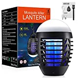 GKCI Bug Zapper Mosquito Killer Fly Trap Mosquito Attractant Trap with Camping Lamp for Outdoor and Indoor, Cordless Zapper with Hook, Hangable