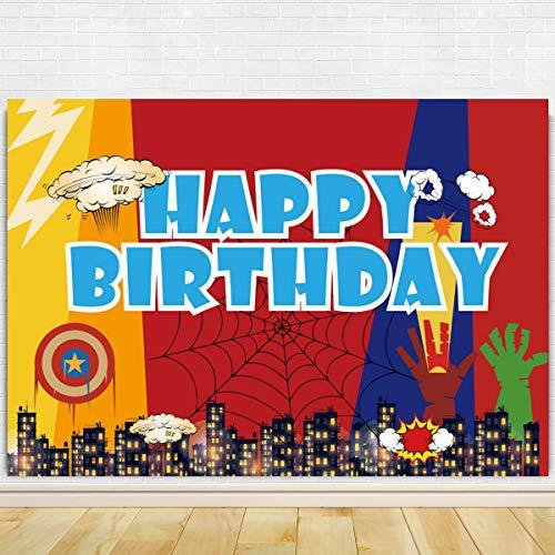 Superhero Theme Birthday Party Photography Backdrop - Superhero Birthday Party Background Cake Table Decorations – Superhero Birthday Outside Yard Indoor Outdoor Decorations 71 x 49 inch
