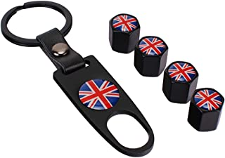 Flypc Mini Cooper Red Union Jack British Flag with 4pcs Tire Valve Stem Caps +Keychain Set Accessories Decal Parts Universal for Most Cars, Such as BMW Mini Cooper