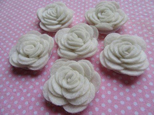 YYCRAFT Paquete de 20 rosas de fieltro de 3,8 cm, 4D de flores, color marfil
