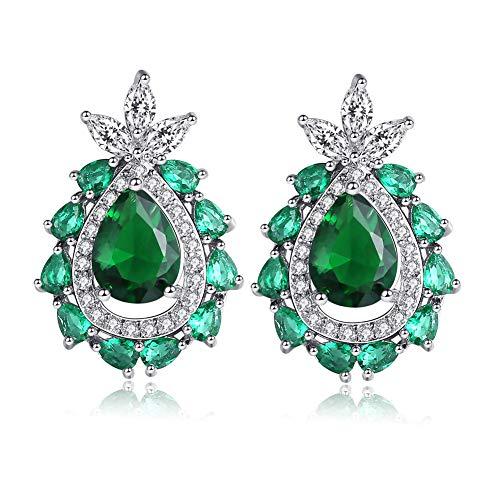 KLJHMAP Frauen Schmuck, Tropfen-Form Smaragd Zircon Ohrringe, schwarzer Kristall von Swarovski, Nickel frei, die Geschenkverpackung, Frauen Mädchen