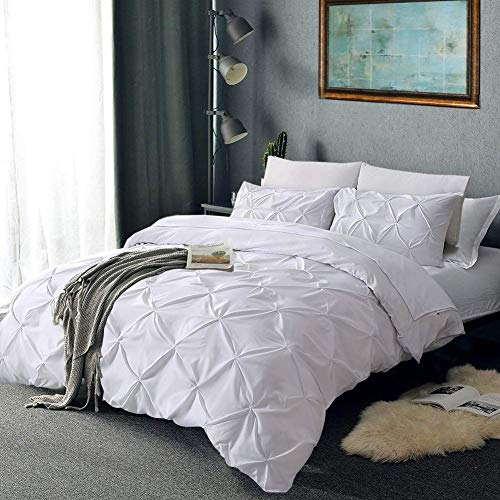 Magic Sheets Oversized King Pinch Pleated 3 Piece Duvet Cover Set 100% Egyptian Cotton 800 Thread Count with Zipper & Corner Ties Tuffed Pattern Decorative (Oversized King, White)