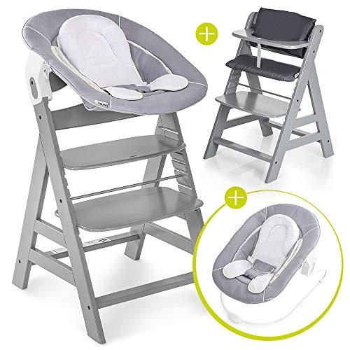 Hauck Alpha Plus Newborn Set - Chaise Haute Bébé en Bois - Évolutive dès naissance/Inclus Transat pour nouveau-né, Coussin assise, Hauteur réglable - Gris/gris