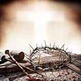 EdCott Crucifixión de Jesucristo Fotografía Fondo 6x6ft Martillo Uñas sangrientas Corona Espinas...