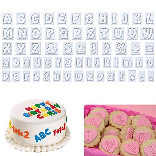 Buchstaben für Fondant Ausstecher 64 Stück Alphabet Ausstechformen Kunststoff Alphabet Cookie Cutters Set Kunststoff Plätzchenform Tortendeko für Hochzeit Geburtstag Party Kuchen Dekoration Weiß