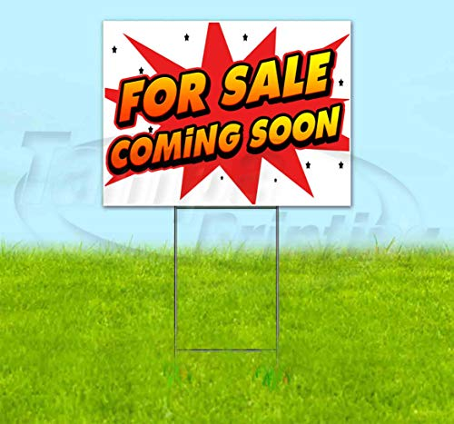 """for Sale Coming Soon (18"""" x 24"""") Yard Sign, Quantity Discounts, Multi-Packs, Includes Metal Step Stake, Bandit, New, Advertising, USA"""