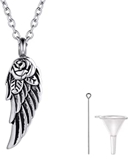 Bar/Hourglass/Angel Wing/Dog Tag/Teardrop/Pet Paw/Special Date Calendar Pendant Urn Necklace For Ashes For Men Women Personalized Cremation Jewelry Waterproof & Rolo Chain 18''+2''(with Gift Box)