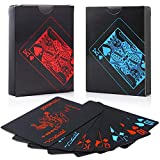 Auihiay 2 Pack 54 Pieces Waterproof PVC Poker Playing Cards, Classic Magic Tricks Tool, Deck of Poker Card with Black Backing for Card Players Family Party BBQ Game