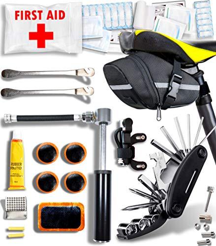 Baytiz | Fahrrad Werkzeug Set + Erste Hilfe + Fahrradpumpe + Fahrradtasche - Zubehör für e Bike Mountainbike Mtb Bmx Rennrad Ebike Satteltasche Satteltashen Sattel Tashe Reparatur Cube Luftpumpe Pumpe