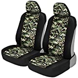 2008 dodge ram seat covers camo - BDK Green Camo Print Car Seat Covers, Front Seats Only – Camouflage Pattern Front Seat Cover Set with Matching Headrest, Sideless Design for Easy Installation, Universal Fit for Car Truck Van and SUV