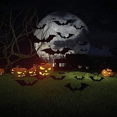 TuT 36pcs Adesivi murali Pipistrello Tridimensionale 3D di Halloween, Adesivi murali Divertenti in PVC Halloween, Prodotti per la Decorazione della Parete della Finestra della Festa (Nero)