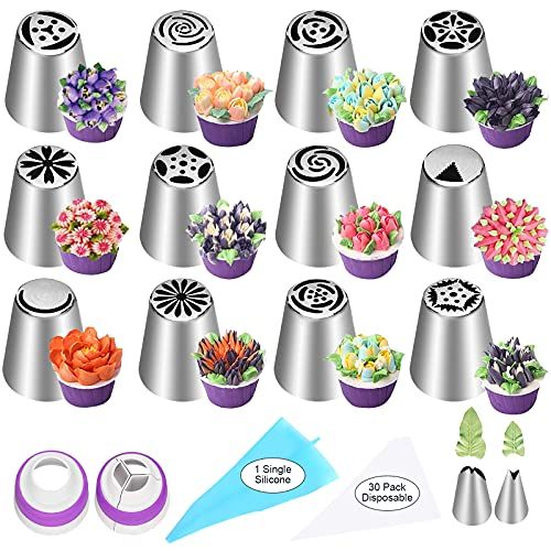 YLYL 47 Pcs Russian Piping Tips Set, 12 Flower Frosting Tips Nozzles Icing Tips for Cake Decorating Tips Kit, Baking Supplies for Cookie Cupcake, 2 Leaf Piping Tips 2 Couplers 30 Pastry Baking Bags