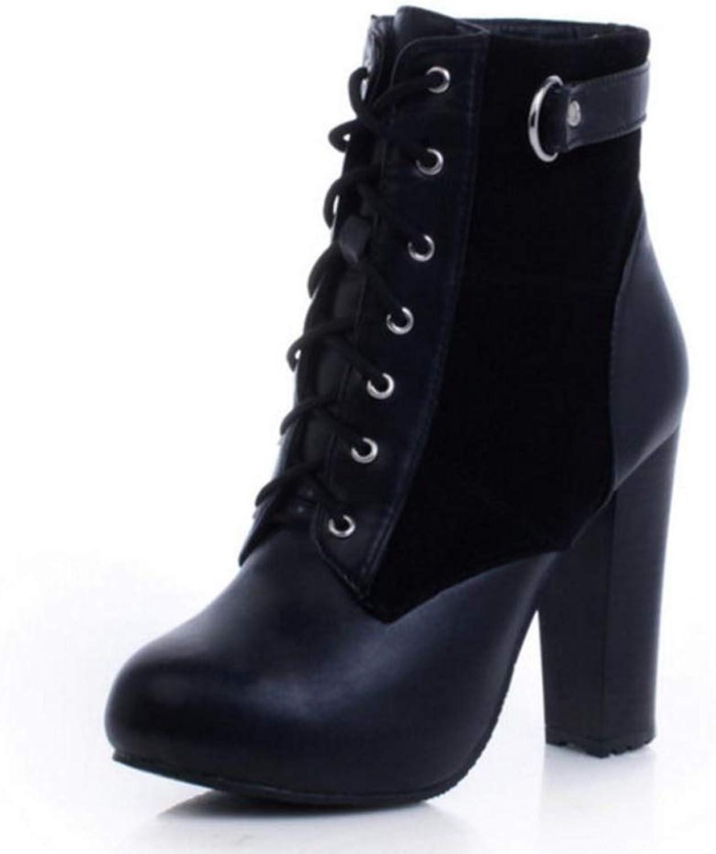 Jim Hugh Sexy Women High Heel Boots Platform Inside Lace Up Fashion Spike Heel Mid Calf Boots